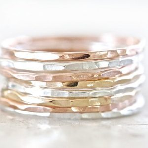 Plain Hammered Ring Set (6 Rings)